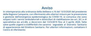 avviso sospensione da covid-19 riabilitazione