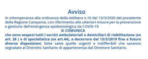 avviso sospensione da covid-19 riabilitazione CAMPANIA