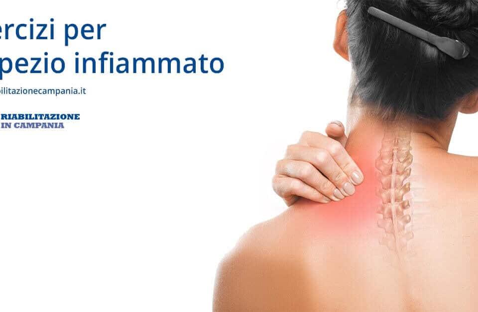 l'immagine rappresenta una donna con una contrattura e serve a rappresentare l'articolo sugli esercizi da fare in caso di trapezio infiammato